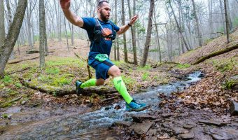 """Trophy Series Photo Contest Winner 7.27.17 - Richard Bugay - """"Leaping through life at the Hyner 25k Trail Challenge."""" Photo by Lance Harshbarger"""