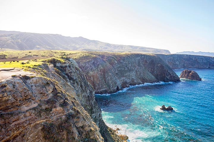 Ocean views and singletrack abound on Santa Cruz Island. Photo by Ian Shive/Tandemstock.com