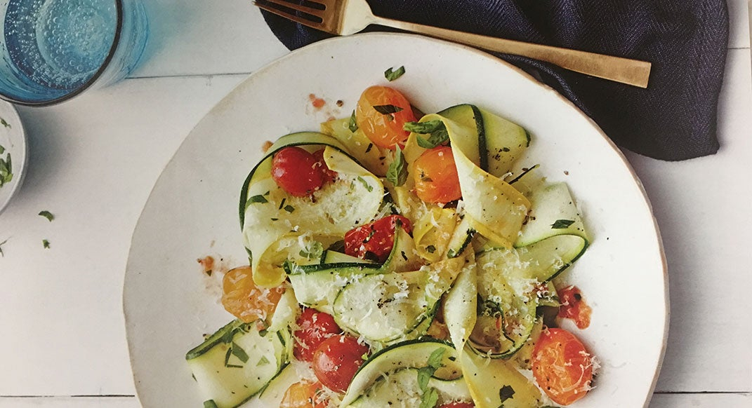 "For the Hangry Runner: Zucchini Ribbon ""Pasta"" with Roasted Cherry Tomatoes"