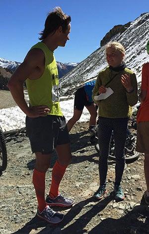 Jason Schlarb (left) after winning the 2014 Ophir Pass Hill Climb.