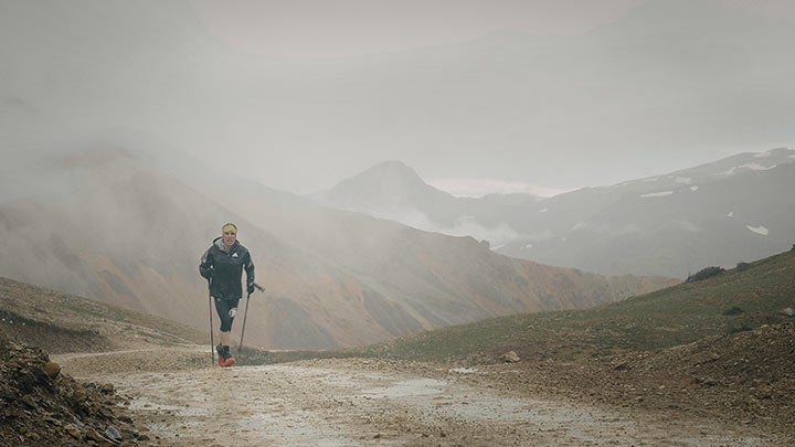 Climbing into the clouds at the Ouray 100.