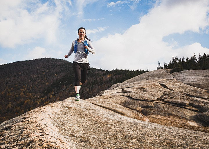 Jackie Arevalo running on the Pitchoff Traverse in the Adirondacks